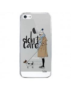 Coque I don't care Fille Chien Transparente pour iPhone 5/5S et SE - Lolo Santo