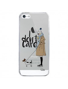 Coque iPhone 5/5S et SE I don't care Fille Chien Transparente - Lolo Santo