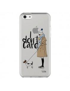 Coque I don't care Fille Chien Transparente pour iPhone 5C - Lolo Santo