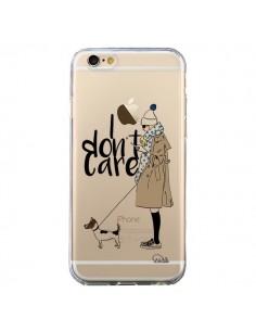 Coque iPhone 6 et 6S I don't care Fille Chien Transparente - Lolo Santo