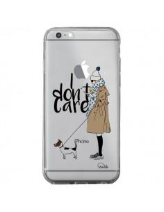 Coque iPhone 6 Plus et 6S Plus I don't care Fille Chien Transparente - Lolo Santo