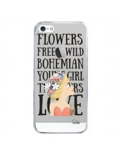 Coque Flowers Love Transparente pour iPhone 5/5S et SE - Lolo Santo
