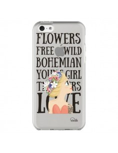 Coque iPhone 5C Flowers Love Transparente - Lolo Santo