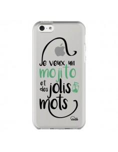 Coque Je veux un mojito et des jolis mots Transparente pour iPhone 5C - Lolo Santo