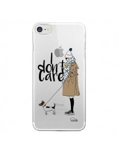 Coque iPhone 7/8 et SE 2020 I don't care Fille Chien Transparente - Lolo Santo