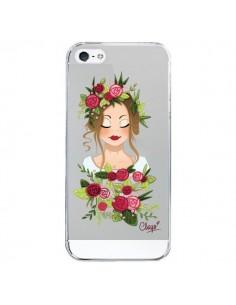 Coque iPhone 5/5S et SE Femme Closed Eyes Fleurs Transparente - Chapo