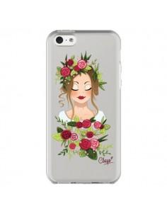 Coque iPhone 5C Femme Closed Eyes Fleurs Transparente - Chapo