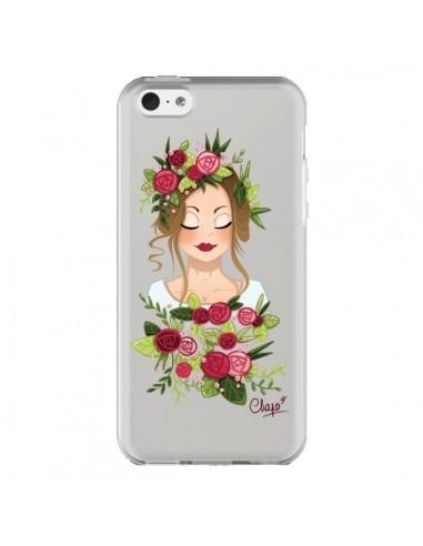 Coque Femme Closed Eyes Fleurs Transparente pour iPhone 5C - Chapo