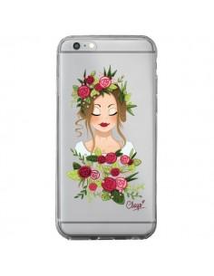 Coque iPhone 6 Plus et 6S Plus Femme Closed Eyes Fleurs Transparente - Chapo