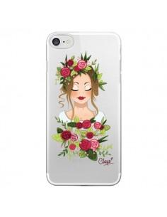 Coque iPhone 7/8 et SE 2020 Femme Closed Eyes Fleurs Transparente - Chapo