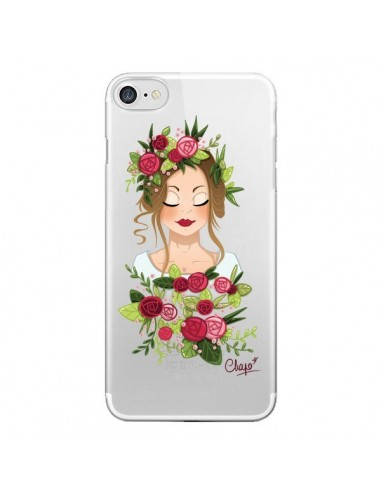Coque iPhone 7 et 8 Femme Closed Eyes Fleurs Transparente - Chapo