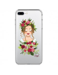 Coque iPhone 7 Plus et 8 Plus Femme Closed Eyes Fleurs Transparente - Chapo