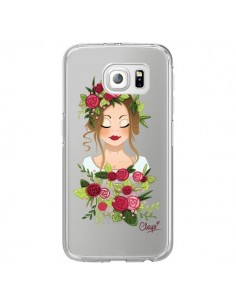 Coque Femme Closed Eyes Fleurs Transparente pour Samsung Galaxy S6 Edge - Chapo