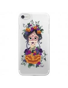 Coque iPhone 7/8 et SE 2020 Femme Closed Eyes Santa Muerte Transparente - Chapo