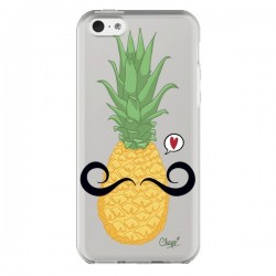Coque Ananas Moustache Transparente pour iPhone 5C - Chapo