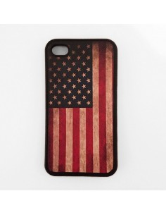 Coque Drapeau USA en TPU Silicone Semi-Rigide pour iPhone 4/4S
