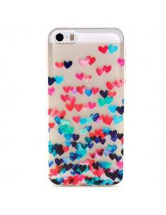 Coque Coeurs Multicolores Transparente en silicone semi-rigide TPU pour iPhone 5/5S et SE
