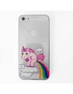 Coque Licorne Caca Arc en Ciel Transparente en silicone semi-rigide TPU pour iPhone 5/5S et SE
