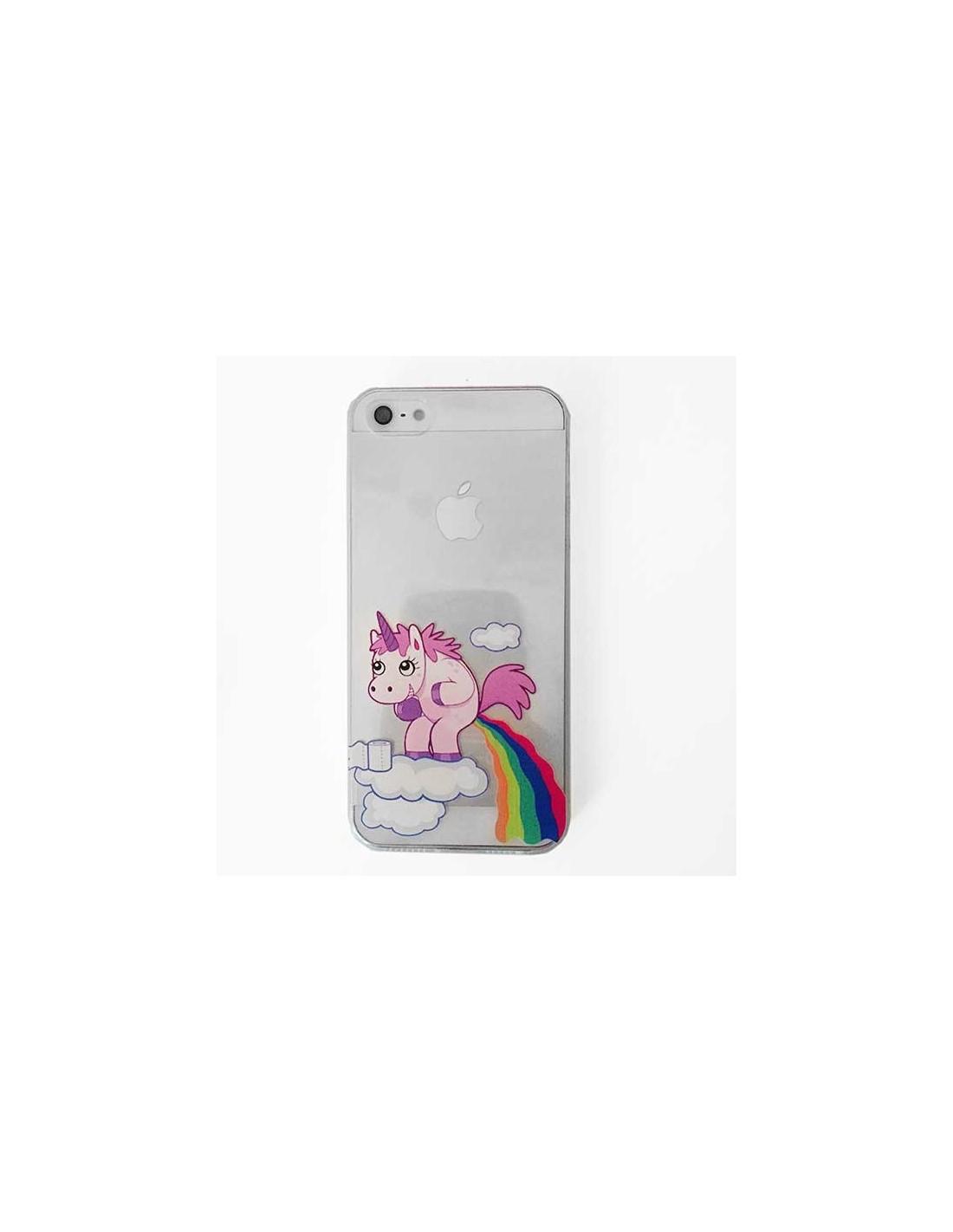 coque iphone 5 5s se licorne caca arc en ciel transparente en silicone semi rigide tpu 5s et se