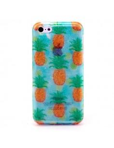Coque Paillettes Ananas Transparente en silicone semi-rigide TPU pour iPhone 5C