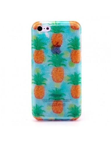 coque iphone 5c paillettes ananas transparente en silicone semi rigide tpu