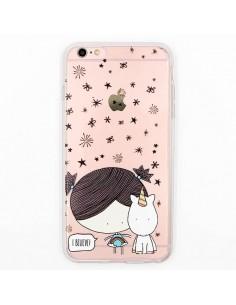 Coque Petite Fille et Licorne Etoiles Transparente en silicone semi-rigide TPU pour iPhone 5/5S et SE