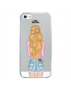 Coque Blonde Don't Care Transparente pour iPhone 5/5S et SE - kateillustrate