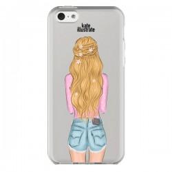 Coque Blonde Don't Care Transparente pour iPhone 5C - kateillustrate