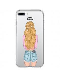 Coque Blonde Don't Care Transparente pour iPhone 7 Plus - kateillustrate