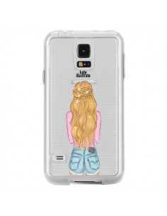 Coque Blonde Don't Care Transparente pour Samsung Galaxy S5 - kateillustrate