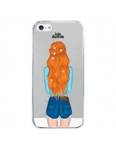 Coque Red Hair Don't Care Rousse Transparente pour iPhone 5/5S et SE - kateillustrate