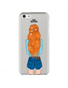 Coque Red Hair Don't Care Rousse Transparente pour iPhone 5C - kateillustrate