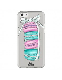 Coque Macarons Pink Mint Rose Transparente pour iPhone 5C - kateillustrate