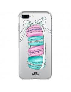 Coque Macarons Pink Mint Rose Transparente pour iPhone 7 Plus - kateillustrate