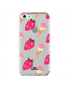 Coque Strawberry Ice Cream Fraise Glace Transparente pour iPhone 5C - kateillustrate