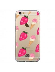 Coque Strawberry Ice Cream Fraise Glace Transparente pour iPhone 6 et 6S - kateillustrate