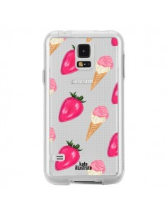 Coque Strawberry Ice Cream Fraise Glace Transparente pour Samsung Galaxy S5 - kateillustrate