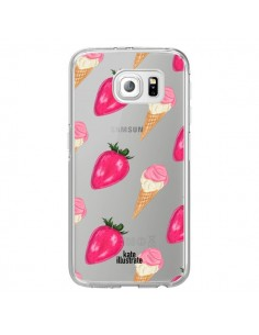 Coque Strawberry Ice Cream Fraise Glace Transparente pour Samsung Galaxy S6 Edge - kateillustrate