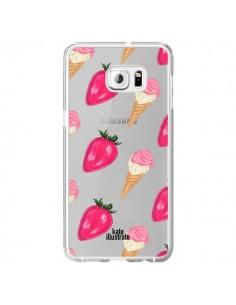 Coque Strawberry Ice Cream Fraise Glace Transparente pour Samsung Galaxy S6 Edge Plus - kateillustrate