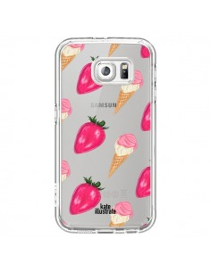 Coque Strawberry Ice Cream Fraise Glace Transparente pour Samsung Galaxy S7 - kateillustrate