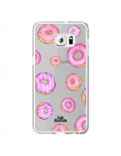 Coque Pink Donuts Rose Transparente pour Samsung Galaxy S6 Edge Plus - kateillustrate