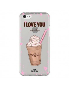 Coque I love you More Than Coffee Glace Amour Transparente pour iPhone 5C - kateillustrate