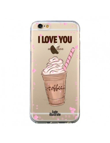 coque iphone 6 et 6s i love you more than coffee glace amour transparente kateillustrate