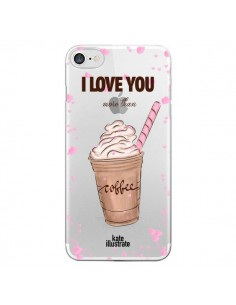 Coque I love you More Than Coffee Glace Amour Transparente pour iPhone 7 et 8 - kateillustrate