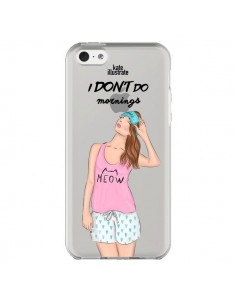 Coque iPhone 5C I Don't Do Mornings Matin Transparente - kateillustrate
