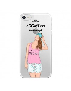Coque I Don't Do Mornings Matin Transparente pour iPhone 7 et 8 - kateillustrate