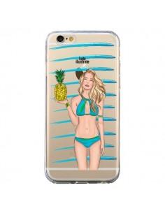 Coque Malibu Ananas Plage Ete Bleu Transparente pour iPhone 6 et 6S - kateillustrate