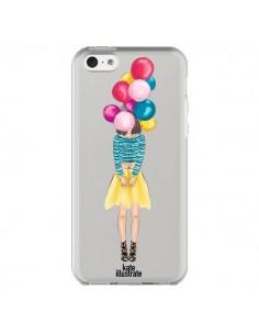 Coque iPhone 5C Girls Balloons Ballons Fille Transparente - kateillustrate