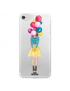 Coque Girls Balloons Ballons Fille Transparente pour iPhone 7 et 8 - kateillustrate