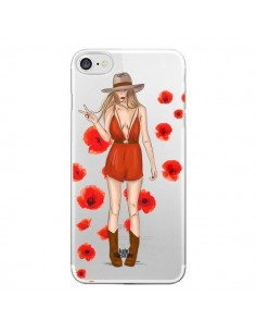 Coque Young Wild and Free Coachella Transparente pour iPhone 7 - kateillustrate